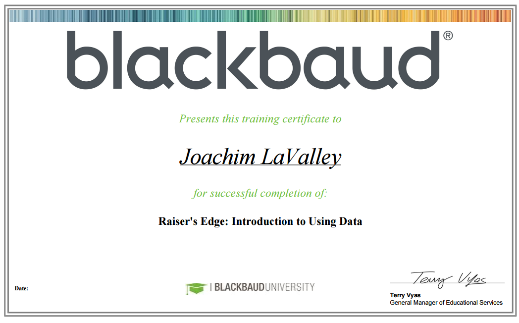 Blackbaud Certificates - Joachim LaValley