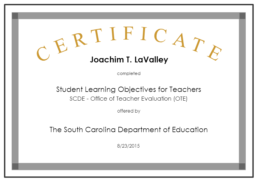 Certificates - General - Joachim LaValley