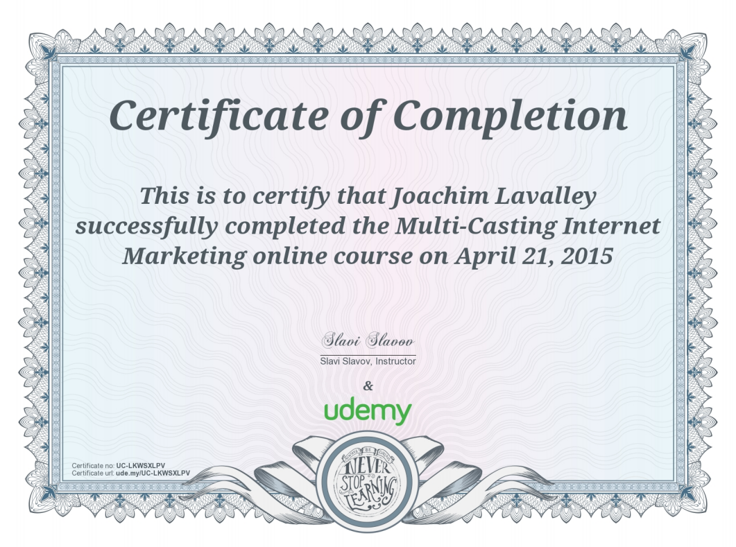 Udemy Certificates Joachim Lavalley
